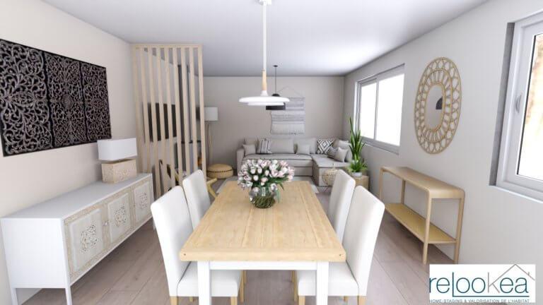 Un salon de style rustique rénové avec des teintes douces et du mobilier en bois clair