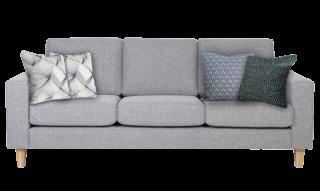 Un canapé trois place gris avec des coussins