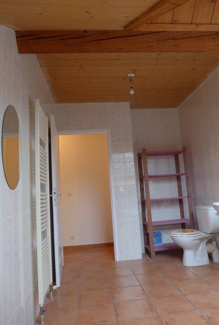 Une salle de bain avec toilette en carrelage brun au sol et blanc au mur avant rénovation