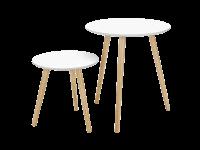 Deux tables basses gigogne de style scandinave blanches avec pieds coniques en bois
